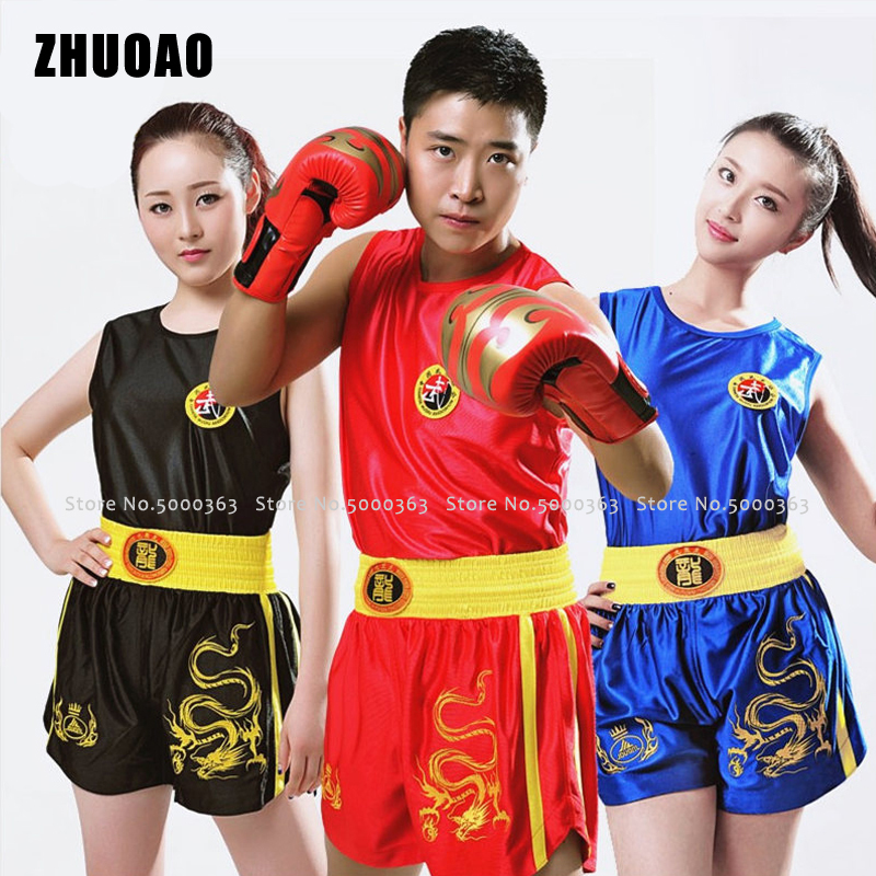 Children MMA Kick Boxing Shirts Men Women Boxe Muay Thai Shorts Kids Fight Fitness Gym Wear Bjj Sport Training Suit Fight Trunks