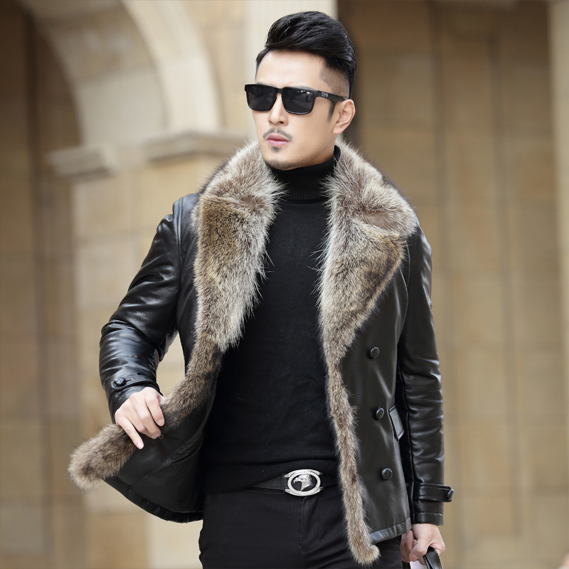 Men's Leather Jacket Short Winter Genuine Leather Sheepskin Coat For Men Real Raccoon Fur Collar F-598 KJ1434