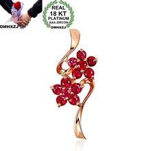 OMHXZJ venta al por mayor moda europea mujer chica fiesta boda regalo flor rubí 18kt collar de oro rosa colgante encanto CA190