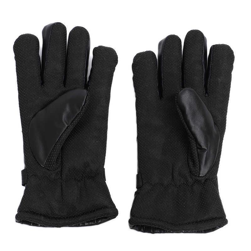 2019 高品質の冬のライディング手袋女性男性厚いスキッドと防風革ミトンオートバイハンドウォーマー裏地