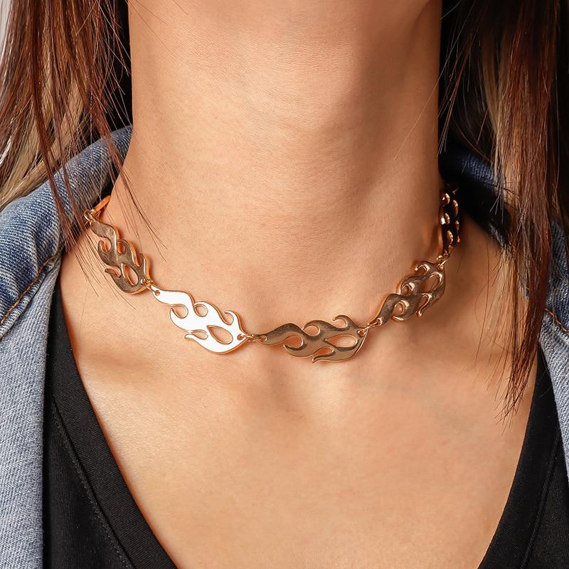 Fogo chama ouro ferro gargantilha colar feminino hip-hop streetwear do punk estilo unissex arame farpado pequena corrente