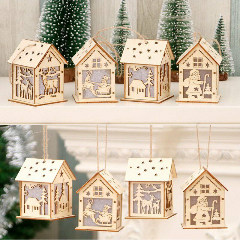 Christmas Decoration LED Lights Wooden House Snow House Christmas Tree Ornaments DIY LED Lights Christmas Gift Window Decoration
