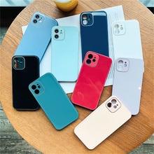 Voor Iphone 11 12 Pro Max Xr Xs Max X 7 8 Plus 12 Mini Leuke Pure Kleur Kunst Spiegel reflecterende Camera Lens Telefoon Bescherming Case