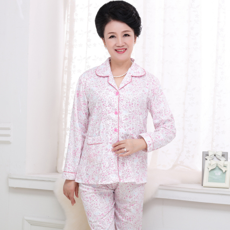 Pajamas Women's Autumn Pure Cotton Long Sleeve Middle-aged Mom Autumn Women's Cotton Cardigan Middle-aged Women Homewear Set