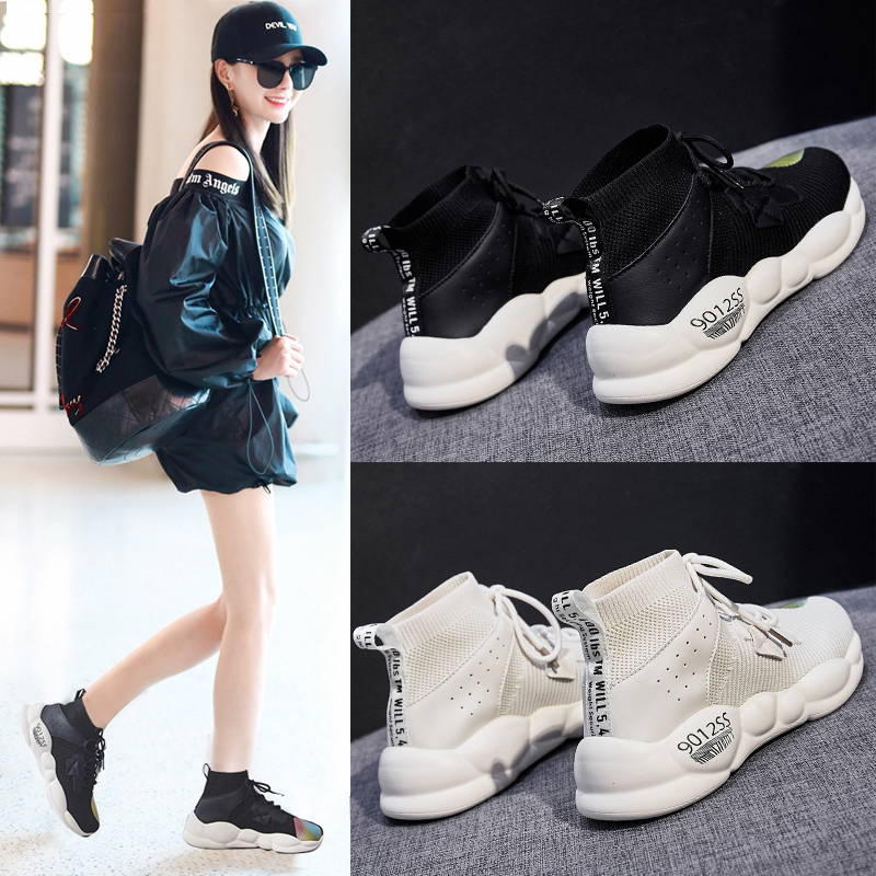 Foreign trade original single cut high quality women's shoes autumn high shoes fast fashion wild socks shoes sports shoes 34
