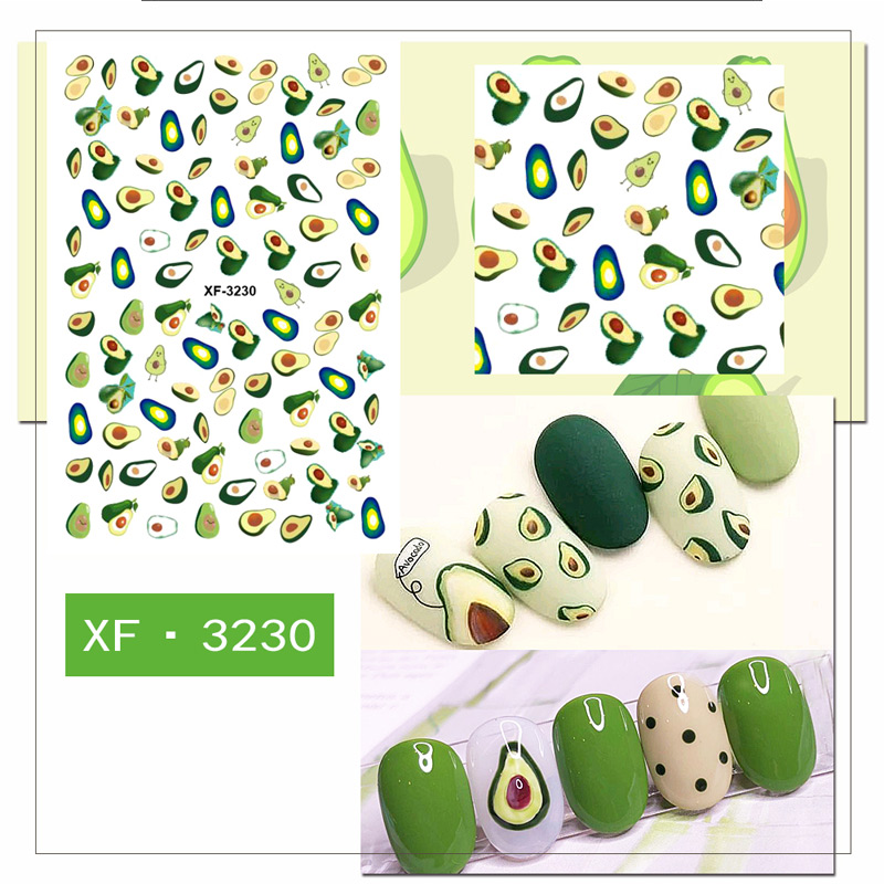 Summer Series Nail Art Water Transfer Stickers Avocado Daisy Flower Feather Nail Tips DIY XF3230