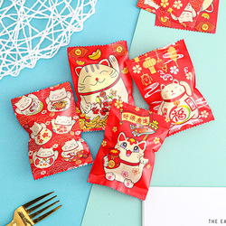 AQ New Year Lucky Cat Candy Bag Baby Shower Kids Party Biscuit Packaging Bags Friends Class Reunion Baked Goods Soap Packaging