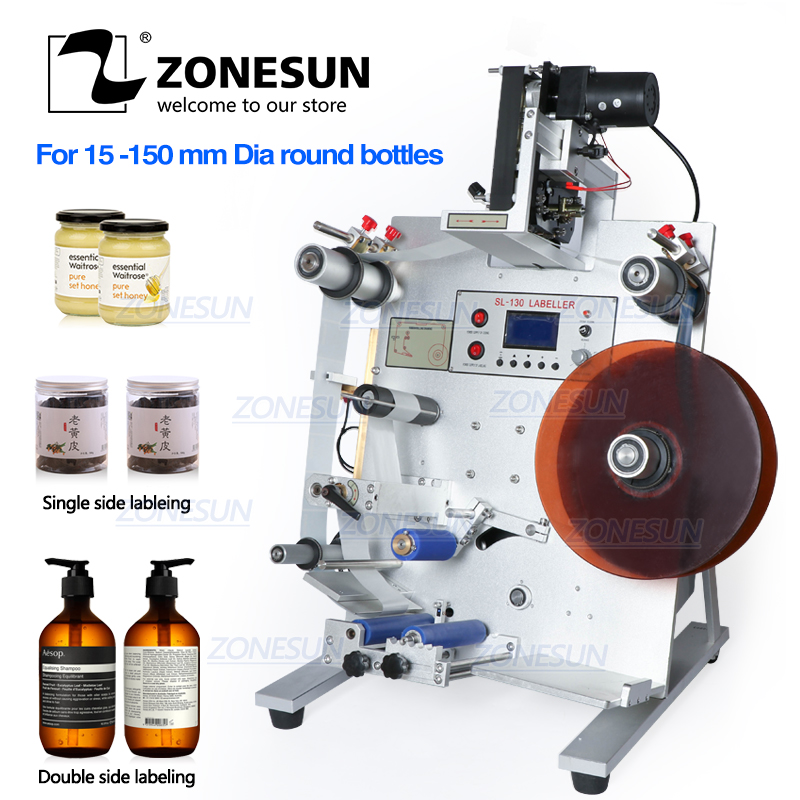 ZONESUN Double Labeling Machine Double Sides Labeller FH-130M (220V/50HZ)  round Bottle labeling machine Label Applicator