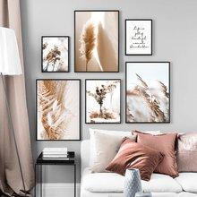 Arte da tela de canapa pittura bege reed fiori secchi piante cartaz nórdico e estampa de paesaggio immagini a par