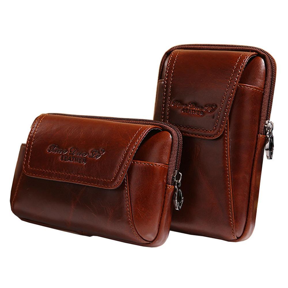 Men Oil Wax Leather Cowhide Vintage Travel Cell Mobile Phone Case Cover Belt Pouch Purse Fanny Pack Waist Bag