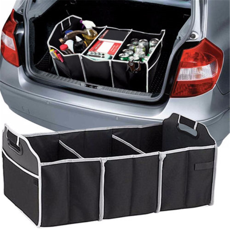 Car Trunk Storage Box Extra Large Collapsible Organizer With 3 Compartments Home Car Seat Organizer Car Accessories Interior