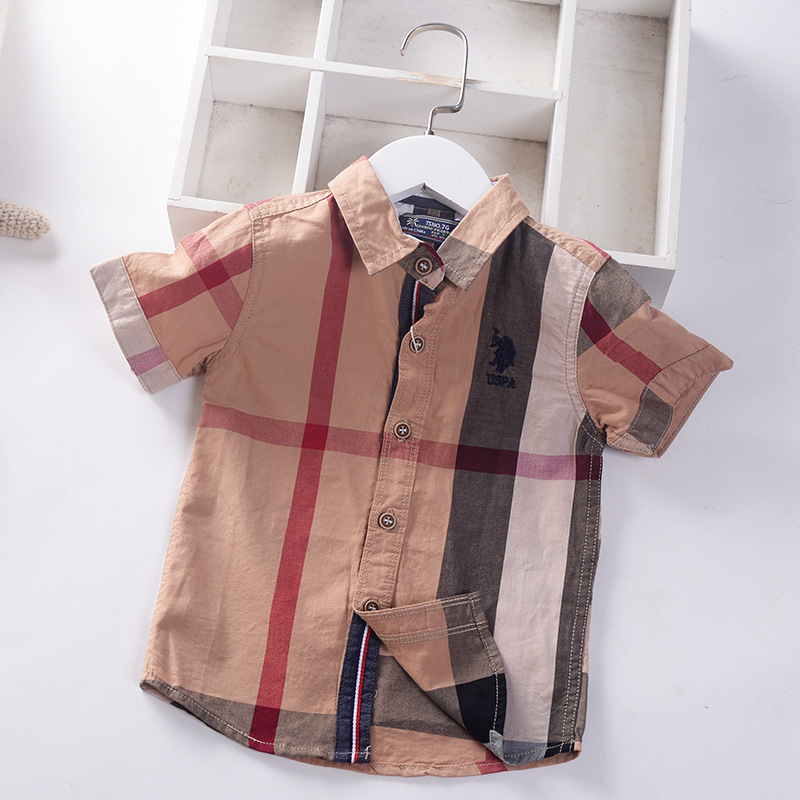 New Summer Casual Turn Down Collar Boys Shirts Toddler Kids Cotton Shirt Tops Tees Children's Clothing