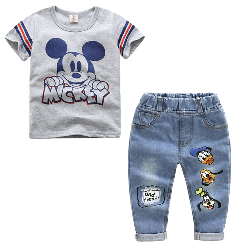 Toddler Summer Boys Clothing Sets Cartoon Mickey Baby Boys Short Sleeve T-shirt And Jeans 2pcs Sport Suit Children Clothes Set