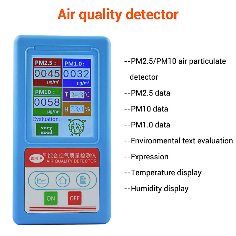 PM2 5 Air Quality Monitor PM 2 5 PM10 Home Gas Analyzer Particle Number Detector Dust Counter Tester Temperature Humidity Meter in Gas Analyzers from Tools