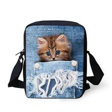 Women Messenger Bags 3D Denim Animal Shoulder Bag Handbags Cute Cat Messenger Bags Children Crossbody Bag for Girls Boys Bookbag forudesigns soy luna girl messenger crossbody bag princess children handbags tv show shoulder bags custom made bandolera hombre
