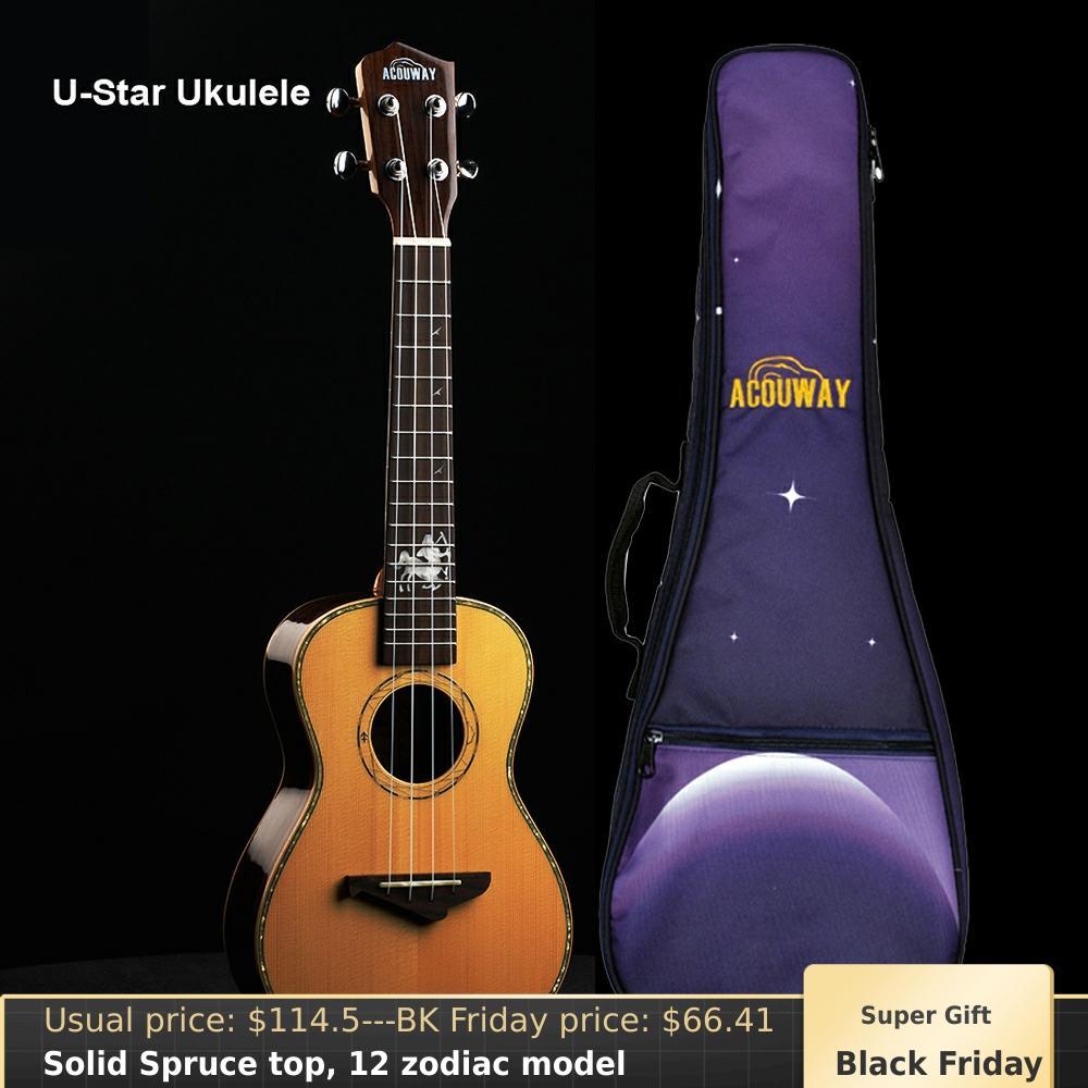 Acouway table en épicéa massif ukulélé ukelele Concert ténor 23 26 ukulélé finition brillante 12 cadeau zodiaque présent modèle avec sac gratuit