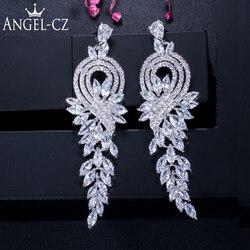 Angelcz brilhante dama de honra cz jóias forma de folha zircônia incrustada feminino brincos longos para vestido de casamento acessórios ae027