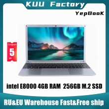 KUU YEPBOOK Laptop 15.6 Inch IPS Screen For Intel E8000 Quad Core 256GB M.2 SSD Netbook HDMI WiFi Bluetooth for office study