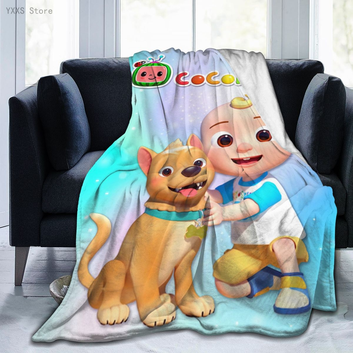 Coco-Melon Kids Blanket Super Soft and Warm Plush Blankets Cute Dog and Baby Printed, Children Blankets for Couch Or Bed