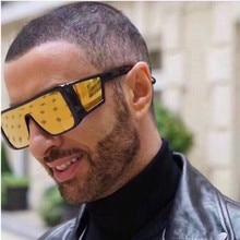 Luxury brand large shield sunglasses men's square big box