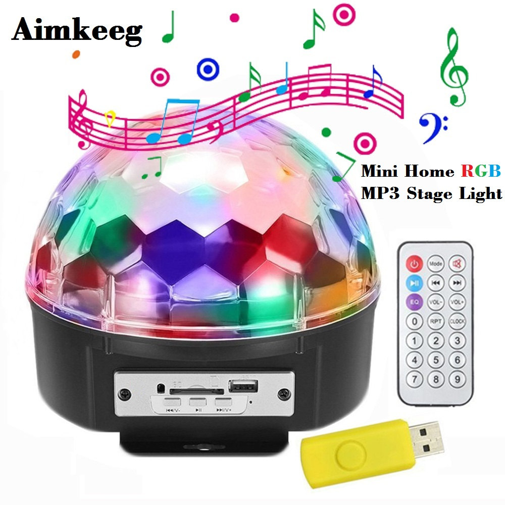 Mini 6 LED RGB Advanced Voice Control Stage Light LED Laser Projector 6 Color MP3 Light DJ Disco Light Laser Wedding Party Light