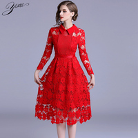 Quality Woman Mid Lace Dress Solid Red Ladies A line Party Dresses Hollow out Female Slim Laces Dresses New