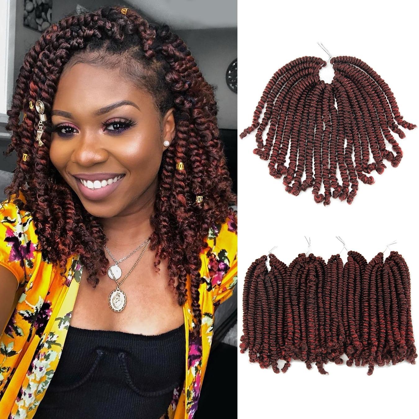 Cheris, 8 дюймов, Омбре, весна, закрученные волосы, вязанные крючком косички, страсть, твист, синтетические плетеные волосы для наращивания, 20 ко...