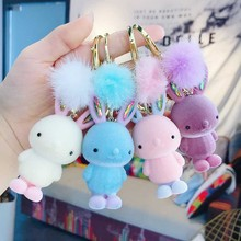 Cute Bunny key chain women Cartoon Rabbit Bag keychains Flannel pendant trinket car key ring Chef burger bag charm