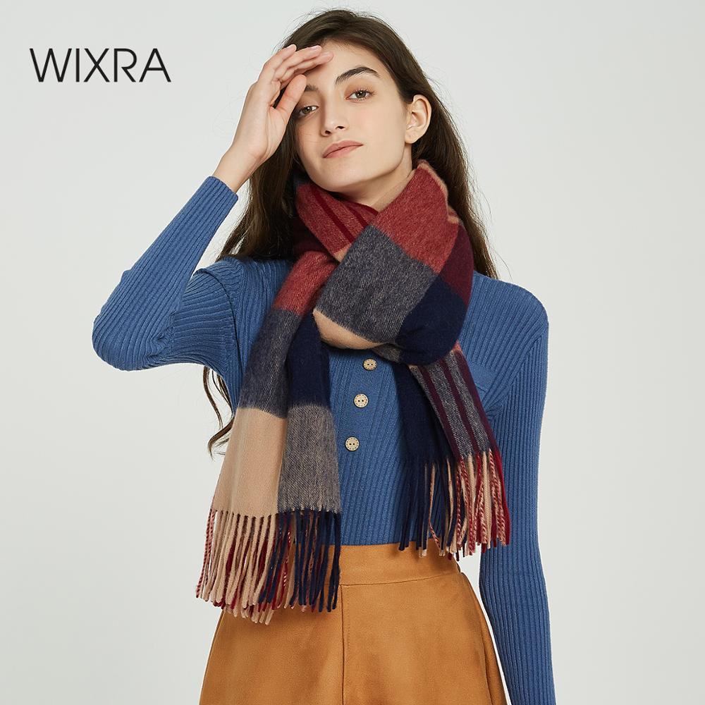 Wixra Classic Plaid Lamb Wool Scarf Shawl Warm Foulard Scarves Cashmere Casual Scarfs 2019 Autumn Winter
