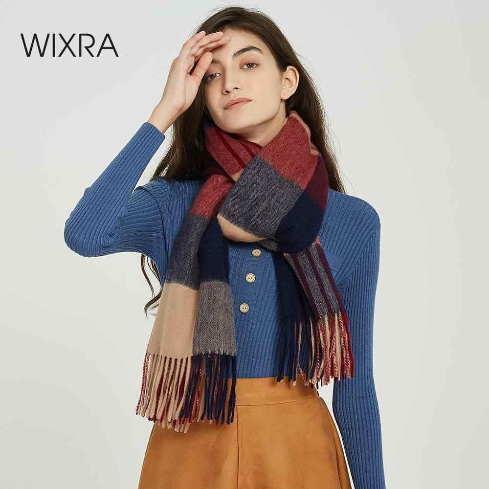 Wixra klasik ekose kuzu yün eşarp şal sıcak fular eşarp kaşmir rahat atkı 2019 sonbahar kış