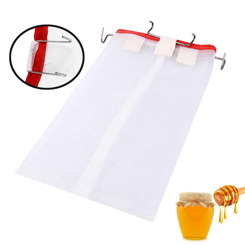 Portable Honey Filter With Hooks Squre Bee Net Filter Extractor Cappings Bag For Farm Bee Honey Percolation Beekeeping Tool