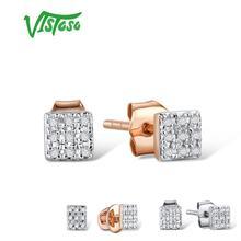 Серьги VISTOSO, золотые, для женщин, 14 K, 585, розовое золото, сверкающие бриллианты, изящные круглые серьги гвоздики, модные ювелирные изделия