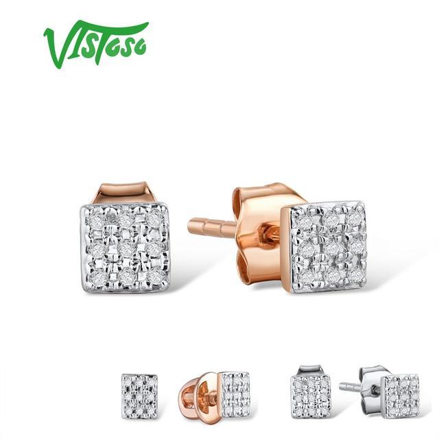 VISTOSO Gold Ohrringe Für Frauen 14 K 585 Rose Gold Funkelnden Diamant Dainty Runde Cirle Stud Ohrringe Mode Trendy Feine schmuck