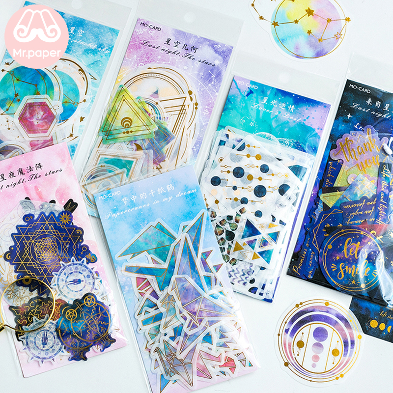 Mr.paper 8 Designs 60Pcs/lot Gold Stamping Universe Constellations Stars Deco Stickers Scrapbooking Bullet Journal Deco Stickers