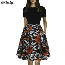 Oxiuly Women's Casual Pockets Fit and Flare Floral Slim Party Cocktail Mini Swing A-Line Vintage Flare Stretchy Dress OX307 stripe floral print fit and flare dress