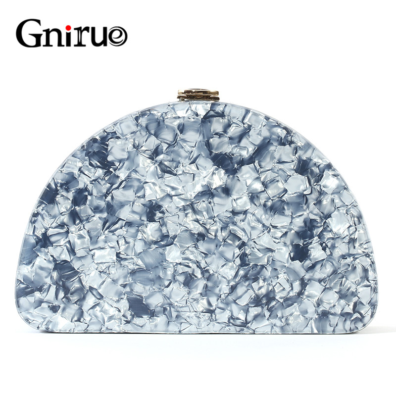 New Fashion Colorful Shell Semicircle Acrylic Bag Box Evening Wallet Women Messenger Bags Clutch Trendy Party Prom Purse Handbag