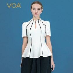 VOA36 36 мм стример белый тяжелый шелк капля воротник пряжка черный подол короткий рукав микро эластичный кулон тонкая футболка B9062
