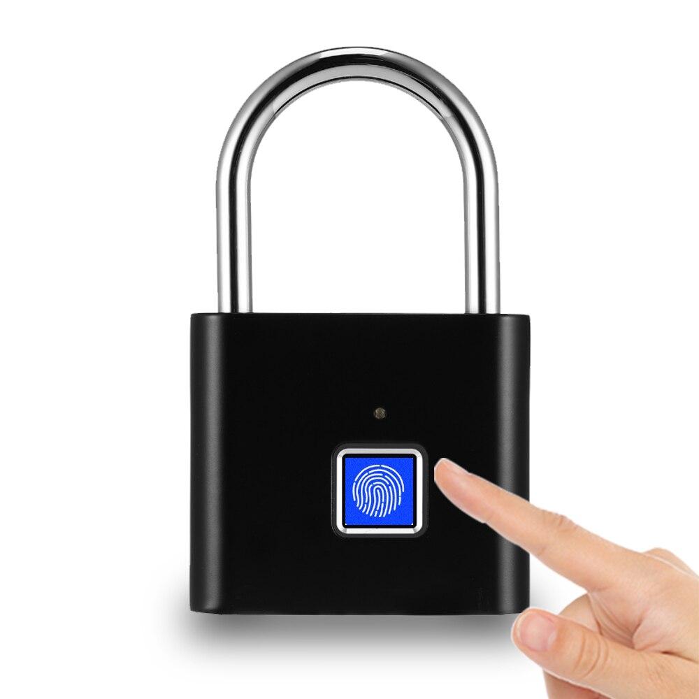 Fingerprint Lock Smart Padlock Thumbprint Door Padlocks Portable Waterproof Anti-Theft Fingerprint Lock For Bag Drawer Suitcase
