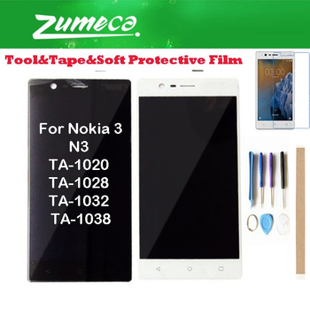 """Original 5.0"""" For Nokia N3 TA-1020 TA-1028 TA-1032 TA-1038 Nokia 3 LCD Display Screen+Touch Screen Digitizer 2 Color With Kits"""