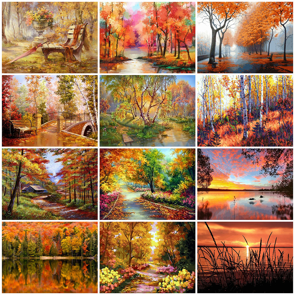 EverShine Painting By Numbers Natural Scenery Oil Paint By Numbers For Adults Autumn On Canvas HandPainted Home Decor-0