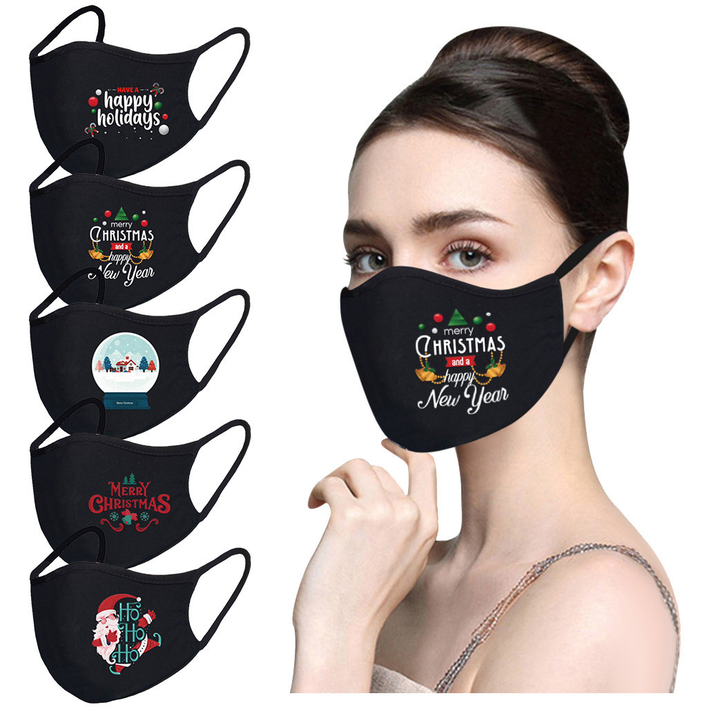 Halloween Decorations for Home 3-layer Breathable Cotton Mask Dust Mask Pure Black Blank Mask-1