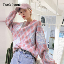 SAM'S TREE Pink Argyle Colorblock Knit Pullover Casual Women Sweaters 2020 Winter Blue Lantern Sleeve Korean Soft Female Tops