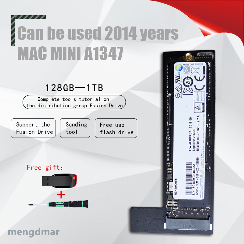 New 128GB 256GB  SSD for Mac 2014 Mini A1347 with SSD and strip arrangement