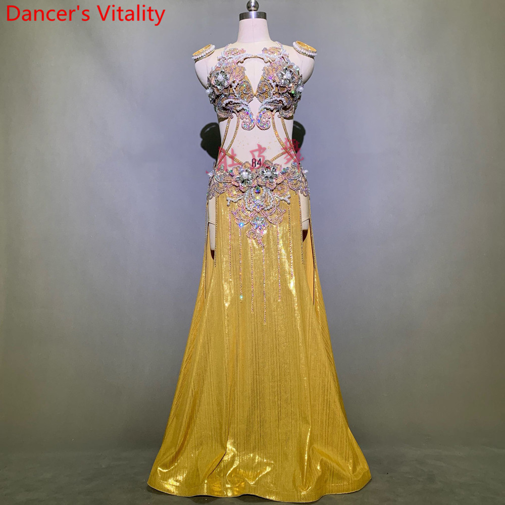 Women Belly Dance Competition Outfits Customized Slap-up Diamond Bra Skirt Belt Oriental Indian Drum Dancing Performance Costume