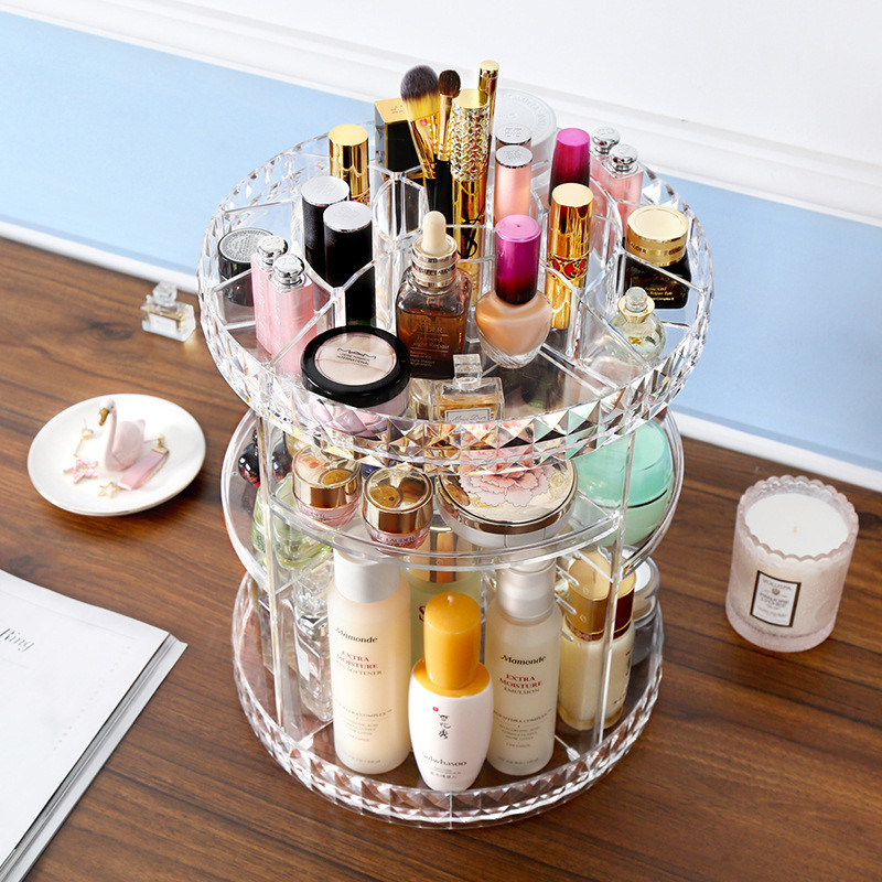 Beauty Box 360 Degree Rotation Transparent Acrylic Cosmetics Storage Box Fashion Spin Multi-function Detachable Makeup Organizer