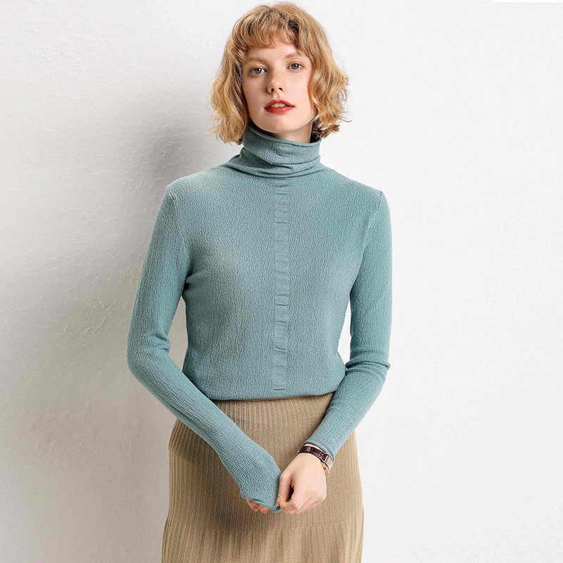2019 outono inverno novo pullover de lã de alta-neck camisola das mulheres casaco longo-base de mangas compridas de cor sólida alta colar curto camisola fora