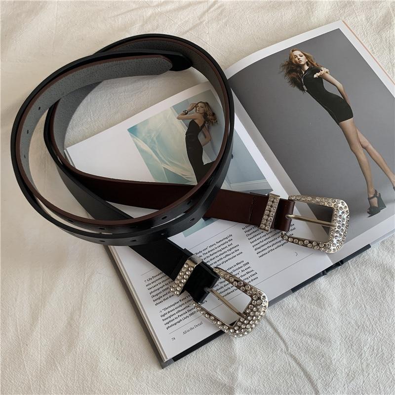 Rhinestone Buckle Women Belts Luxury Brand Retro PU Leather Wide Waist Strap Jeans Trousers Casual Black Ladies Female Waistband