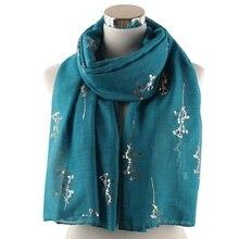 Bronzing Foil Gold Branch Scarf Spring Winter Wrap Shiny Metallic Ladies Long Shawl Foulard Femme Muslim Hijab Soft Lightweight