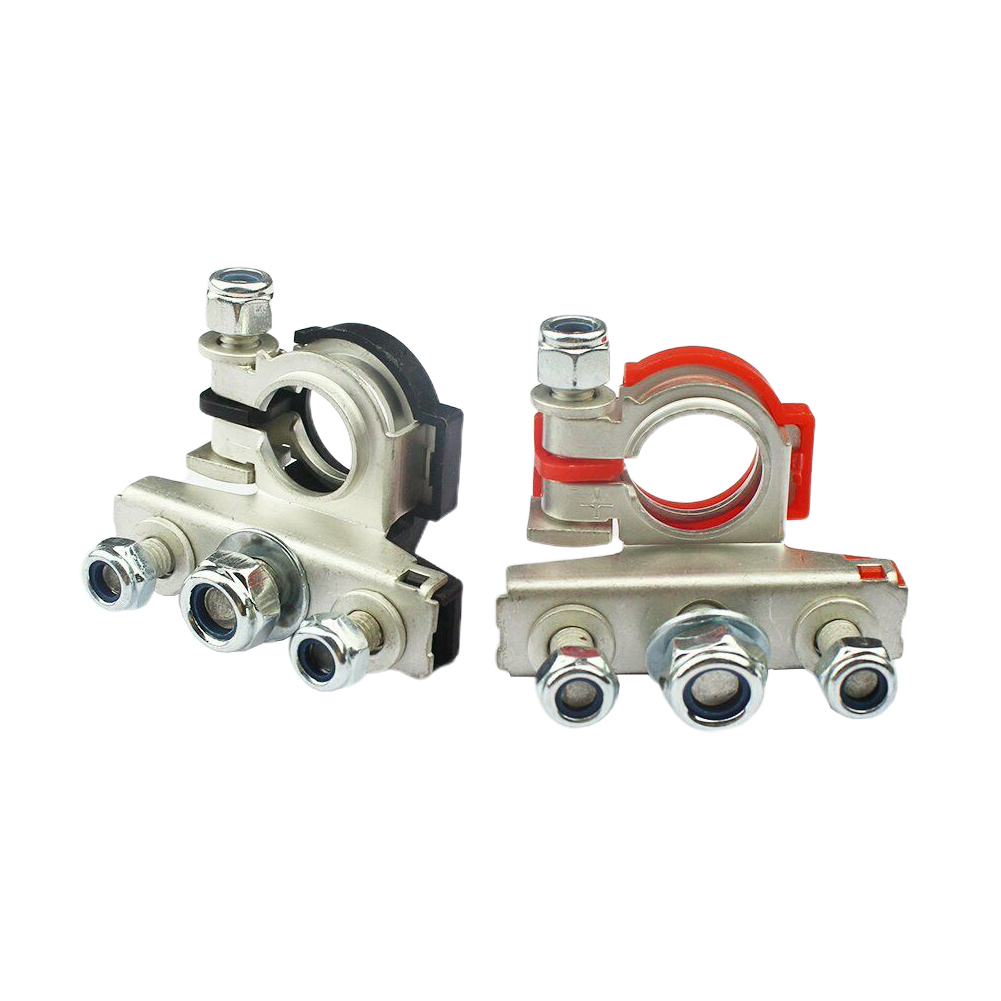 2Pcs 12V <font><b>Car</b></font> <font><b>Battery</b></font> Terminal <font><b>Connector</b></font> Heavy Duty Positive Negative Tool Quick Release 3Way Replacement Clamps Accessories image