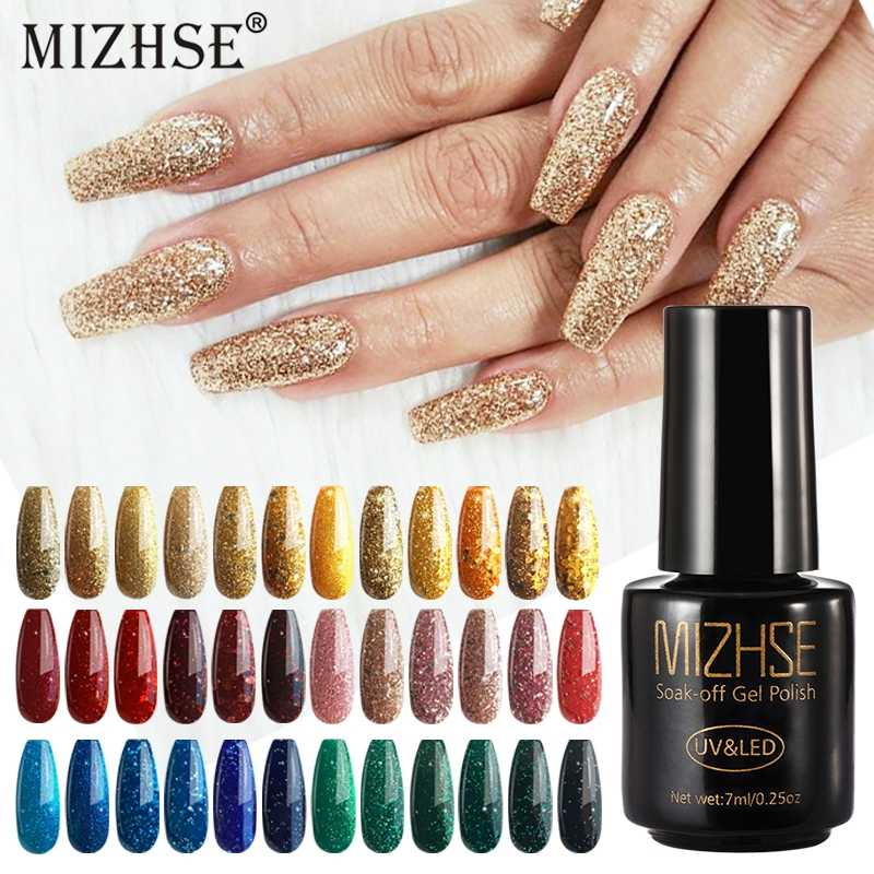 Mizhse 7 Ml Warna Glitter Cat Kuku Semi Permanen UV Enamel Hybrid Kuku Seni Manikur Kuku Base Coat Gel cat Kuku